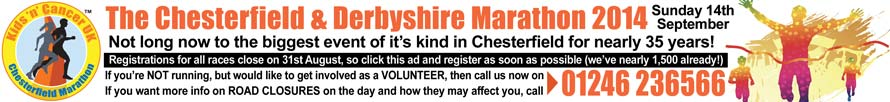 The Chesterfield Marathon 2014 - Click to Run, Volunteer or for info - or call 01246 236566