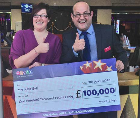 Chesterfield's Kate Bull experienced a euphoric and life-changing moment just over a week ago, after winning £100,000 at Mecca Chesterfield.