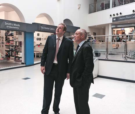 Chesterfield MP Toby Perkins (left) with Bill Grimsey in the new Market Hall during Bill's visit as part of his tour of the East Midlands reviewing the high street