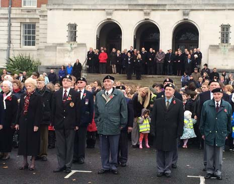 Council leaders and staff joined the Deputy Mayor - Cllr Denise Hawksworth and her consort Mr Tony Rogers, on the steps of the Town Hall, alongside 500 children from local schools and nurseries, and students from Chesterfield College, to observe an impeccable two minutes silence