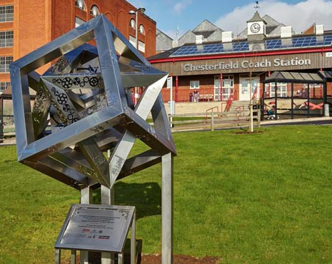 The sculpture is sited outside Chesterfield Coach Station in The Pocket Park, a community collaboration delivered by Chesterfield and District Civic Society to mark their 50th Anniversary, in association with Franke Sissons Ltd and Chesterfield Borough Council.
