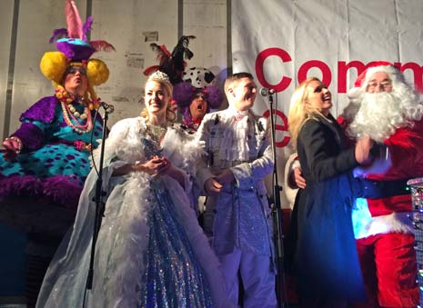 The stage was set for the festive season in Chesterfield yesterday as thousands packed into New Square to celebrate the switching on of the town's Christmas lights by stars of this year's panto and local dignitaries (oh, and Santa himself!).