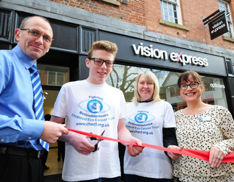 Vision Express has officially opened its new Chesterfield store with a local eye cancer survivor, who is a budding Olympian, cutting the ribbon.