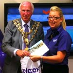 Teletext Holiday's free holiday competition was drawn by the mayor in store yesterday