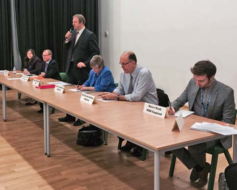 Chesterfield MP Toby Perkins, spoke to a packed hall at Staveley's Springwell college tonight, as he, and a panel of health professionals, heard local residents voice their concerns about Holywell Medical Group