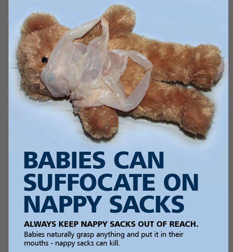 RoSPA research shows that many parents tend to store nappy sacks close to the cot or under the mattress for convenience while nappy changing at night - but this can be dangerous if within the baby's reach while they are left unattended to sleep.
