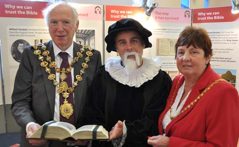 The Mayor and Mayoress of Chesterfield with Peter McEvoy, Secretary of the Chesterfield Christadelphians at the Bible exhibition