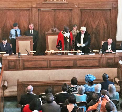 The new Mayor of Chesterfield, Cllr Alexis Diouf, takes the oath of office