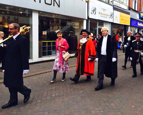 After being sworn in at Chambers last Wednesday evening, new Chesterfield Mayor, Cllr Barry Bingham, paraded through town on Saturday morning - again with family and fellow dignitaries - to attend his Civic Service at the Crooked Spire.