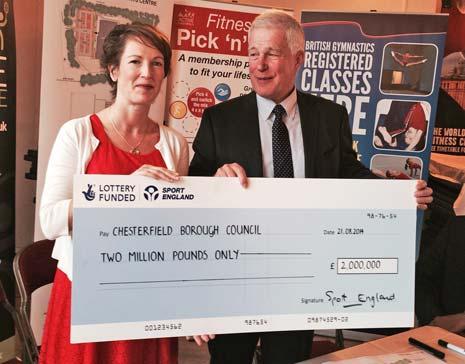 Charles Johnston, Sport England, presents the £2million pound grant cheque to Chesterfield Borough Councillor Amanda Serjeant