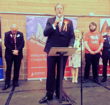 Afterwards, Toby Perkins admitted to The Chesterfield Post that it was a 'bittersweet moment' - given that some of his labour colleagues had lost seats