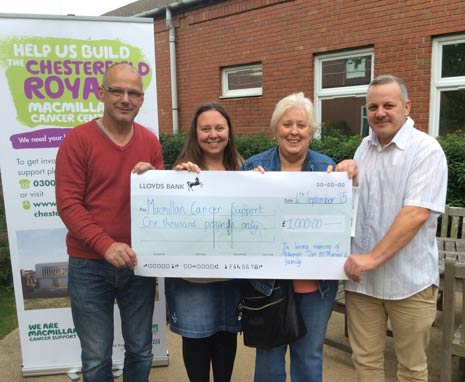A presentation of a cheque for £1,000 has been made to Macmillian Cancer Support in memory of Alderman Jim McManus.