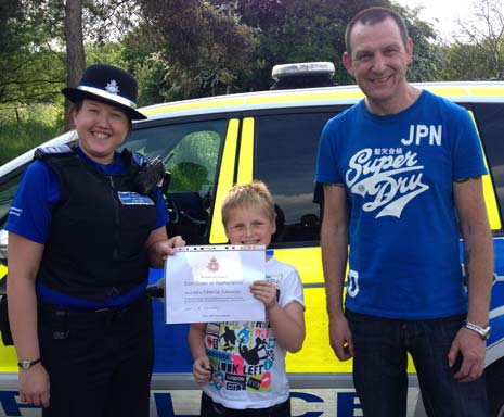 An eight-year-old boy from Chesterfield has been given a certificate from police to thank him for returning a lost drone.