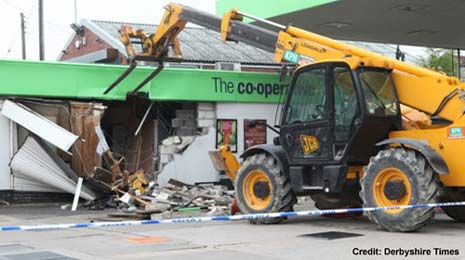 At around 4am this morning (Friday, July 17th) a JCB was used to steal an ATM machine from the Midland Co-operative Food shop on Chesterfield Road.