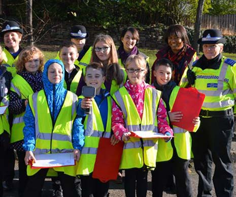 Police have been teaming up with youngsters from New Whittington Primary School to target speeding motorists in the area.