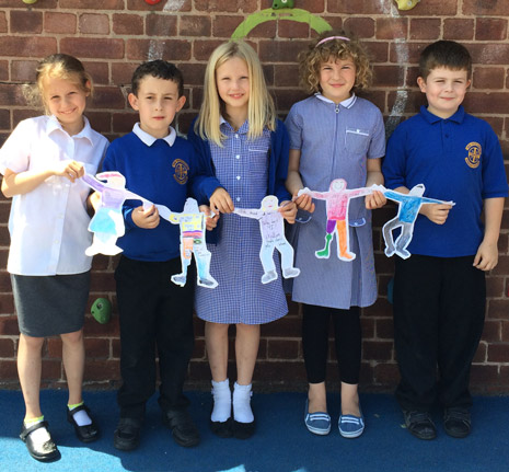 New Whittington pupils Jessica, Corey, Kate, Francesca and Callum with their paper 'cut out' children in support of UNICEF's RSS initiative