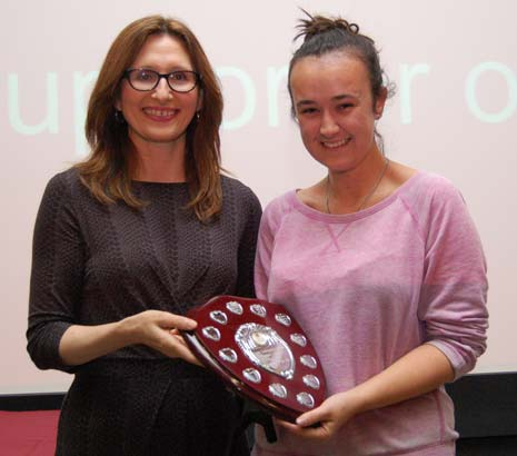19 year old student, Hannah Lee from Chesterfield, was one of over 40 Peer Guides at Bangor University who had been nominated for the Annual Award to recognise the student that goes 'above and beyond' to assist their fellow students.