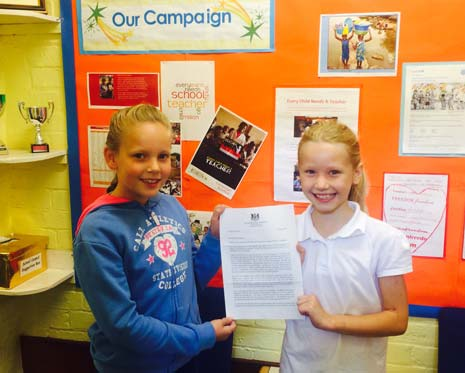 two eight year olds from a Chesterfield primary school say they are 'delighted' to have received a personal reply from Prime Minister David Cameron, after they wrote to him regarding the children who are not able to access education throughout the world.