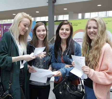 And Chesterfield College students certainly had good reason to celebrate when they collected their A level results