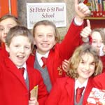 St Peter and St Paul pupils celebrate their schools performance