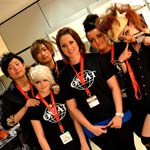 Young hairdressers show off their skills at hairdressing event in Madrid