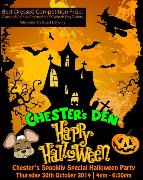 Chesterfield FC Mascot Chester the Field Mouse is hosting a Spookily Special Halloween Party tonight, Thursday 30th October, in Chester's Den.