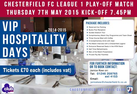 To book a hospitality package, please phone Janice on 01246 209765 (ext 4153) or email janicekew@chesterfield-fc.co.uk
