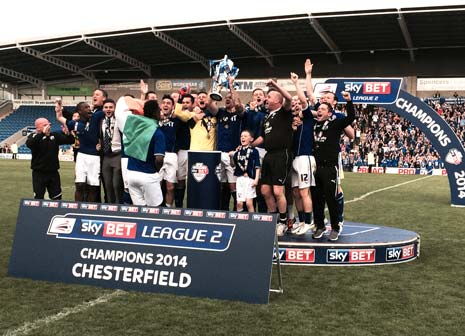 Chesterfield FC are promoted as Champions of SkyBet League Two after a 2-1 win at home against Fleetwood.