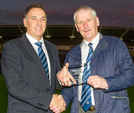 Spireites stalwart Jim Brown was recently named as Chesterfield's 'Club Hero' at the recent Football League Awards event.
