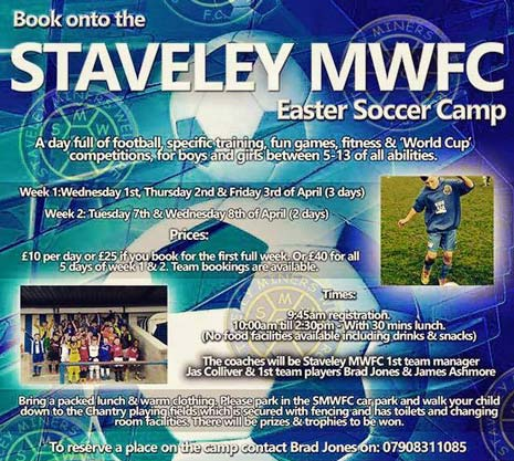 The Staveley MWFC Easter soccer camp is nearly here, and now there's a chance to win 1 day FREE at the camp! All you need to do is like and share the competition status on Staveley MWFC's Facebook page.