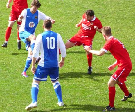 Inside the first two minutes, player manager James Colliver upended Craig Hogg inside the Staveley goal area, with what was more of a mis-timed tackle than a malicious one, but the referee had no option but to point to the spot.