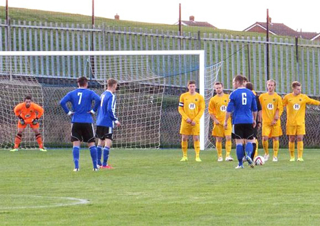 The home side took the lead on 24 minutes when a Sam Denton free kick went through (or maybe under) the defensive wall