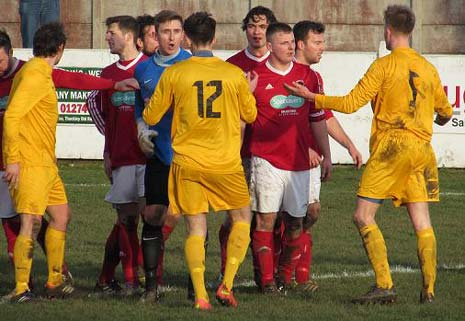 Jack Watts, while trying to shrug off the attentions of a Thackley defender, had raised his left arm to protect himself and connected with the aforementioned home player, who was pushing and shoving the Welfare substitute from behind.