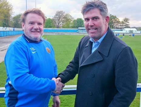 Staveley Chairman Terry Damms (left) welcomes new Manager Brett Marshall to the club