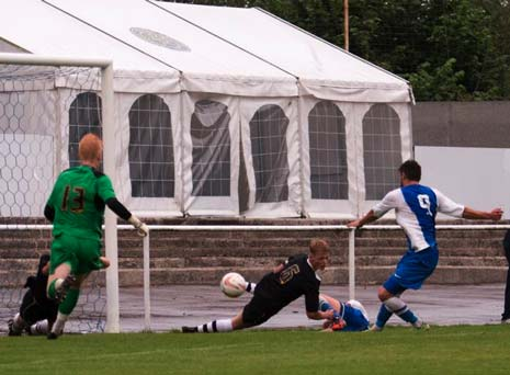 the ball cleared only as far as Kieran Watson who made no mistake and lashed the ball home for the half time lead.